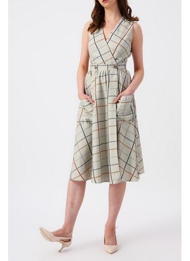 Random Kadın Ekose Desenli Çift Cepli Kruvaze Midi Elbise Gri